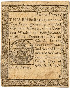 A three-pence bill of credit from Pennsylvania.