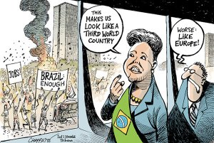 Patrick Chappatte, Protests in Brazil, New York Times (http://goo.gl/AFevcF)