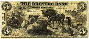 Private Bank Note, Drover's Bank, Salt Lake City, Utah, $3, 1856