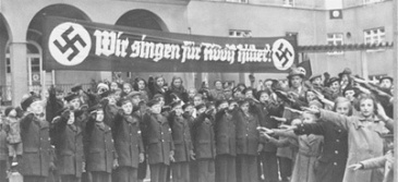 German youth choir, and example of bridging capital. The sign translates to 'We sing for Adolf Hitler'.